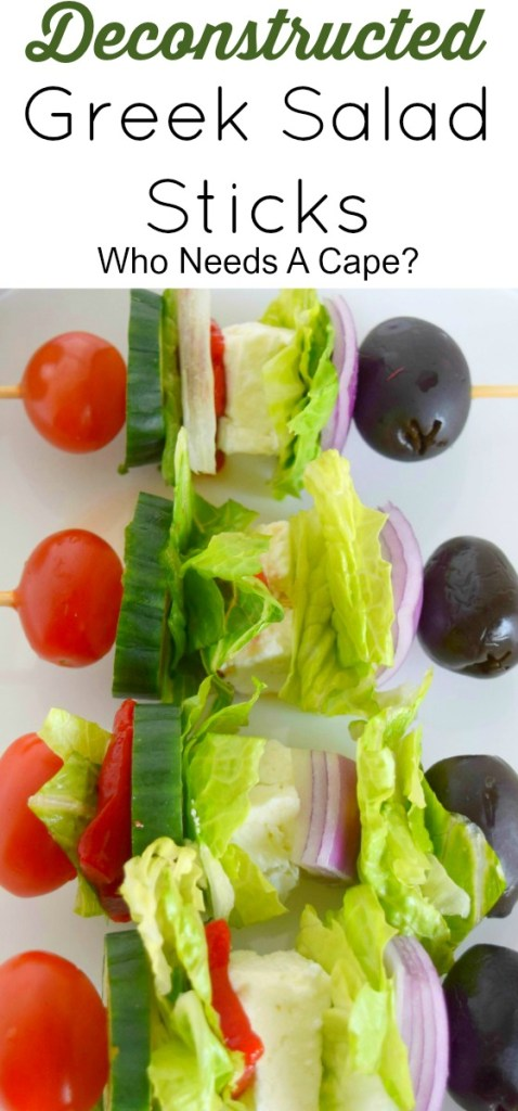 Make these delicious Deconstructed Greek Salad Sticks for your next party. All your favorite ingredients in bite-sized portions perfect for dipping.