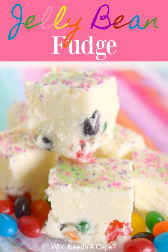 jelly bean fudge stacked on colorful fabric