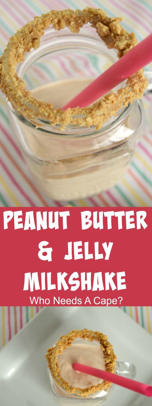 Deliciously simple Peanut Butter & Jelly Milkshake, kids both young and old will enjoy this dessert! Mix one up and share the yum! | Who Needs A Cape?