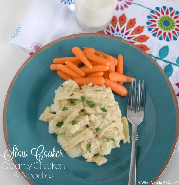 Slow Cooker Creamy Chicken & Noodles is comfort food from your crockpot. Deliciously easy dinner that the entire family will enjoy!