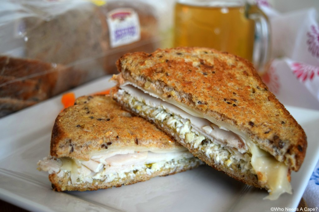 Whether for lunch or dinner you'll love the flavors found within this Grilled Turkey Pesto and Swiss Sandwich. A wonderful meal with little prep work.