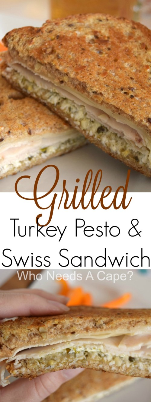 Whether for lunch or dinner you'll love the flavors found within this Grilled Turkey Pesto and Swiss Sandwich. A wonderful meal with little prep work. | Who Needs A Cape?