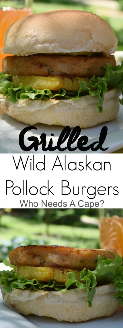 Deliciously change up your dinner burger routine. Get out the grill and make Grilled Wild Alaskan Pollock Burgers, they are so simple and so good! | Who Needs A Cape?