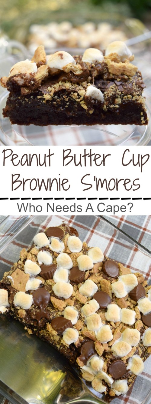 Take your s'mores to the next level! Make Peanut Butter Cup Brownie S'mores and enjoy the same great flavors with a tasty addition. | Who Needs A Cape?