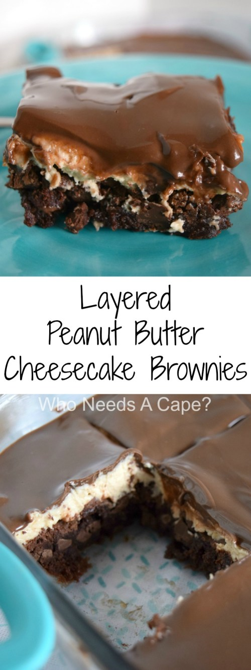 Layered Peanut Butter Cream Cheese Brownies can only be described as amazing! Simple to prepare with layers of deliciousness, you'll love the flavor combo.