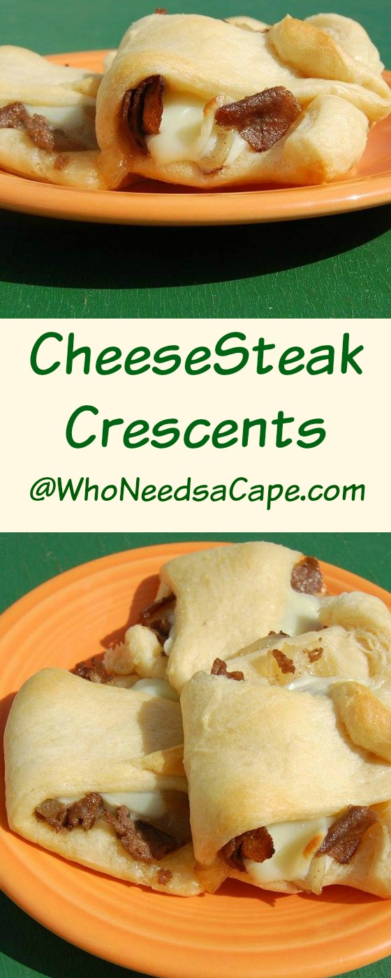 CheeseSteak Crescents can be ready in minutes! Delish tasting and easy! Who Needs a Cape