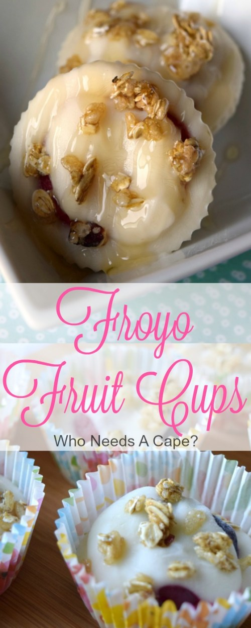 Froyo Fruit Cups are an easy snack that's delish! Yogurt, frozen fruit & granola make the perfect after school snack that won't ruin dinner.