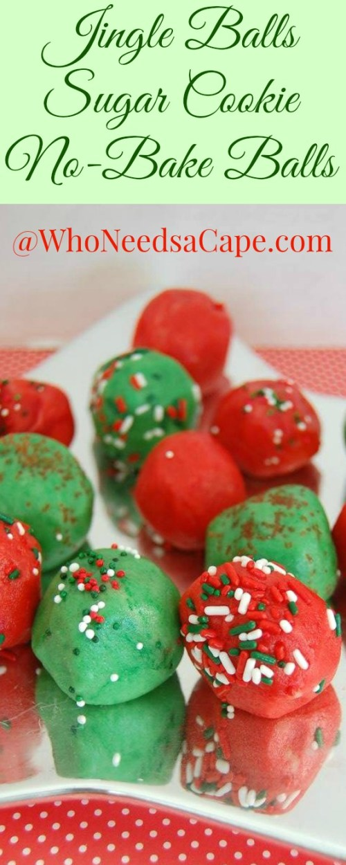 Make some Jingle Balls No Bake Sugar Cookie Balls for your holiday parties. Christmas is a time for yummy treats, great for cookie trays & exchanges.