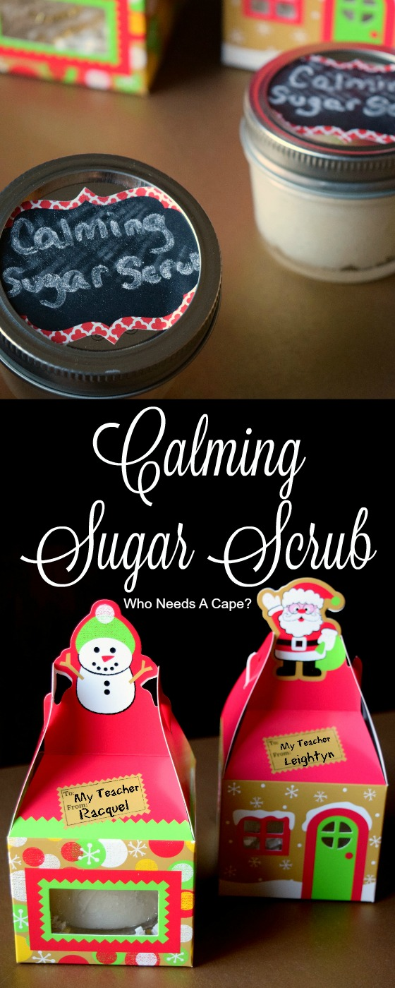 Need a gift for teachers or anyone that needs to relax? Make some EASY Calming Sugar Scrub! Fun gift for the kids to help with too.
