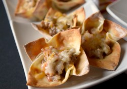 Spicy Sausage Wonton Cups