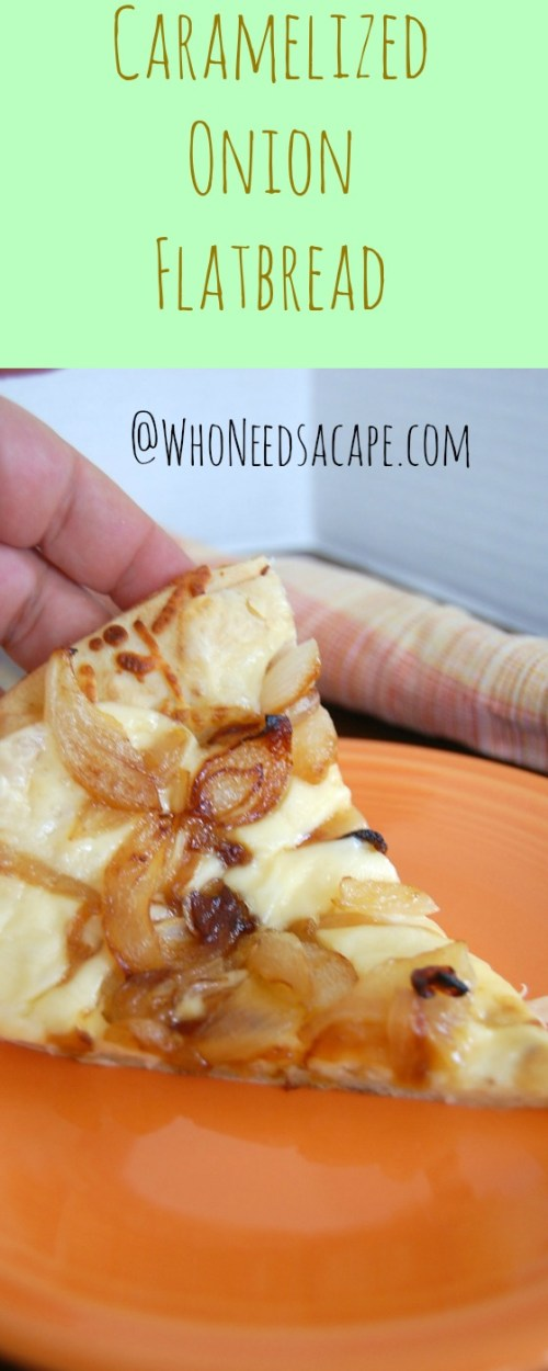 Caramelized Onion Flatbread is the perfect happy hour snack. With Gouda heese and Onions this appetizer has a great combination of flavors for parties too.!