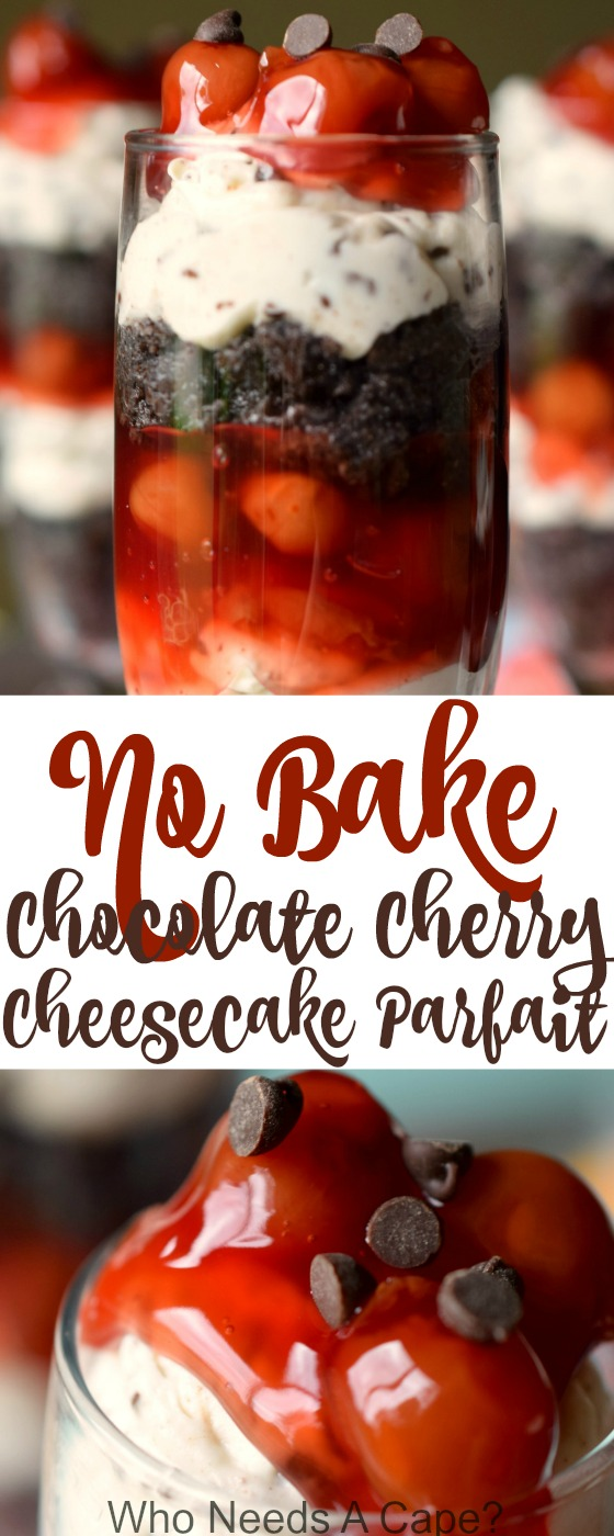 No Bake Chocolate Cherry Cheesecake Parfait has layer upon layer of deliciousness! A dessert that's ready in a snap, perfect for summer parties.