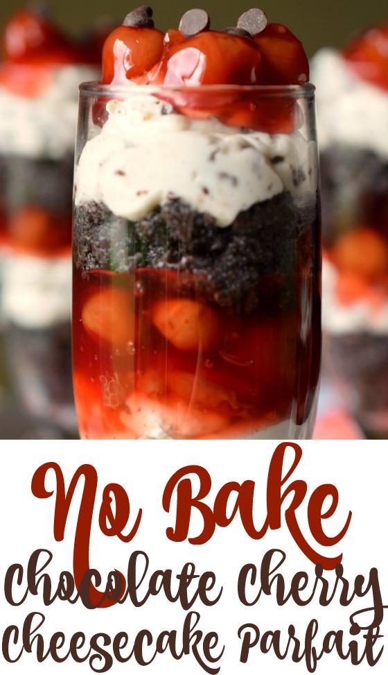 No Bake Chocolate Cherry Cheesecake Parfait