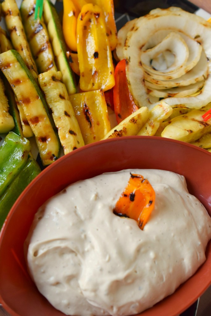 Creamy Balsamic Vinaigrette Dip is perfect alongside grilled vegetables or crackers. Make this dip in less than 2 minutes, great for tailgating spreads.