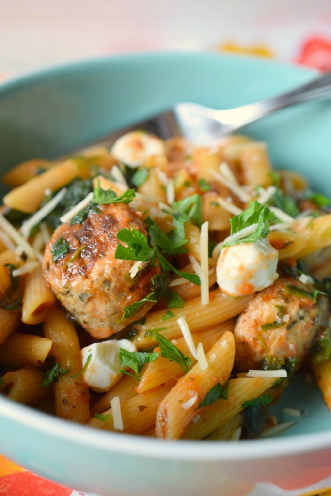 Penne with Chicken Meatballs and Mozzarella is a deliciously simple pasta dish that's ready in no time. Loaded with flavors, your family will love it.