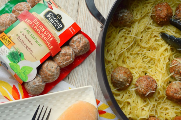 Creamy Angel Hair Pasta & Meatballs is a one-pan family-pleasing meal! Easy to prepare, use fully cooked meatballs, on the table in a flash!