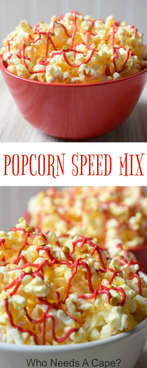 Transform a regular bowl of popcorn into Popcorn Speed Mix. Your family will love this easy movie inspired snack, it is delicious and fun to make!