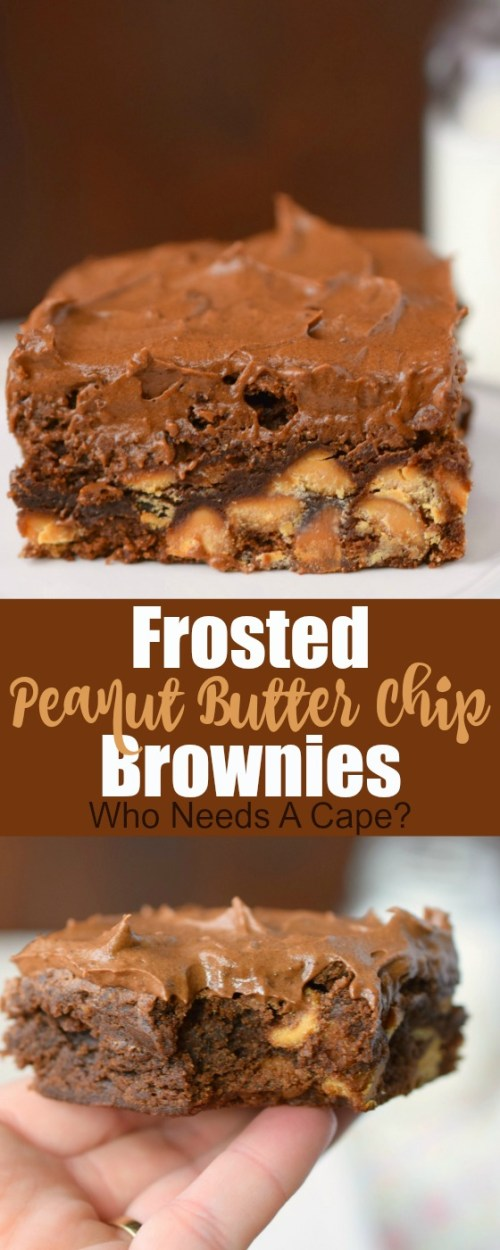 brownie on plate with chocolate frosting and peanut butter chips