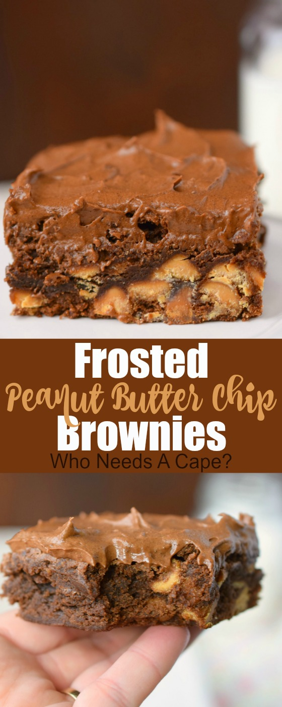 Chocolate and peanut butter lovers, this one is just for you! Frosted Peanut Butter Chip Brownies are a simply delicious homemade treat. This dessert is bakery perfect, yet easy to prepare.