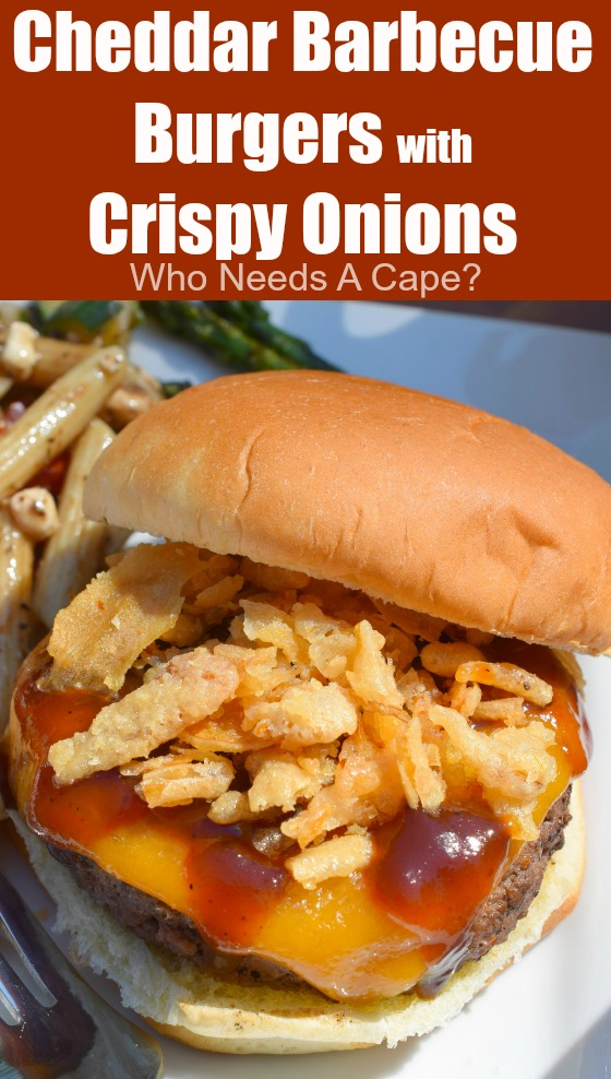 Cheddar Barbecue Burgers with Crispy Onions