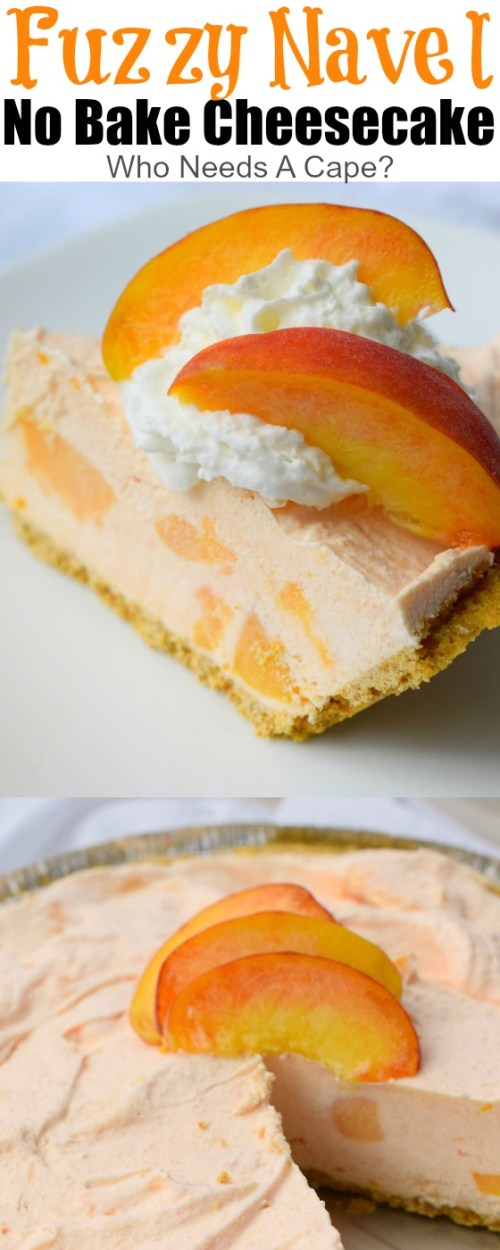 piece of fuzzy navel no bake cheesecake on white plate topped with whipped cream and freshly sliced peaches