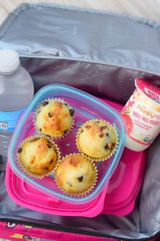 Mini Chocolate Chip Greek Yogurt Muffins with Strawberries are perfect for popping into lunch boxes or as a snack. Easy to make, my kids love them!