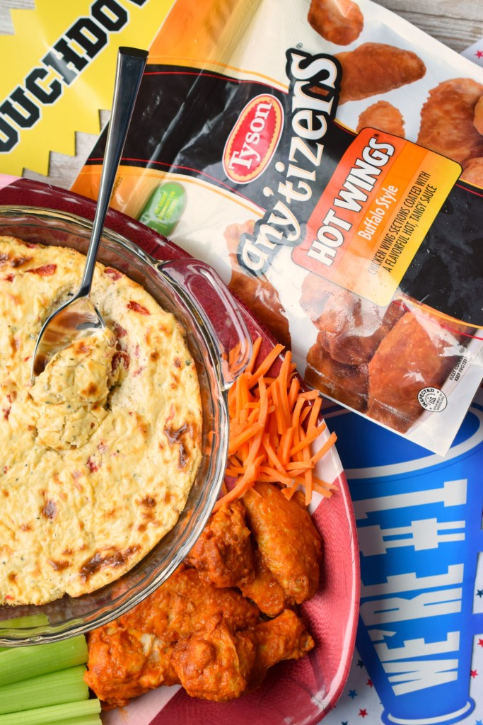 Baked Blue Cheese & Roasted Bell Pepper Dip is the perfect addition to game day spreads. Easy to make, you'll love the flavors in this cheesy appetizer.