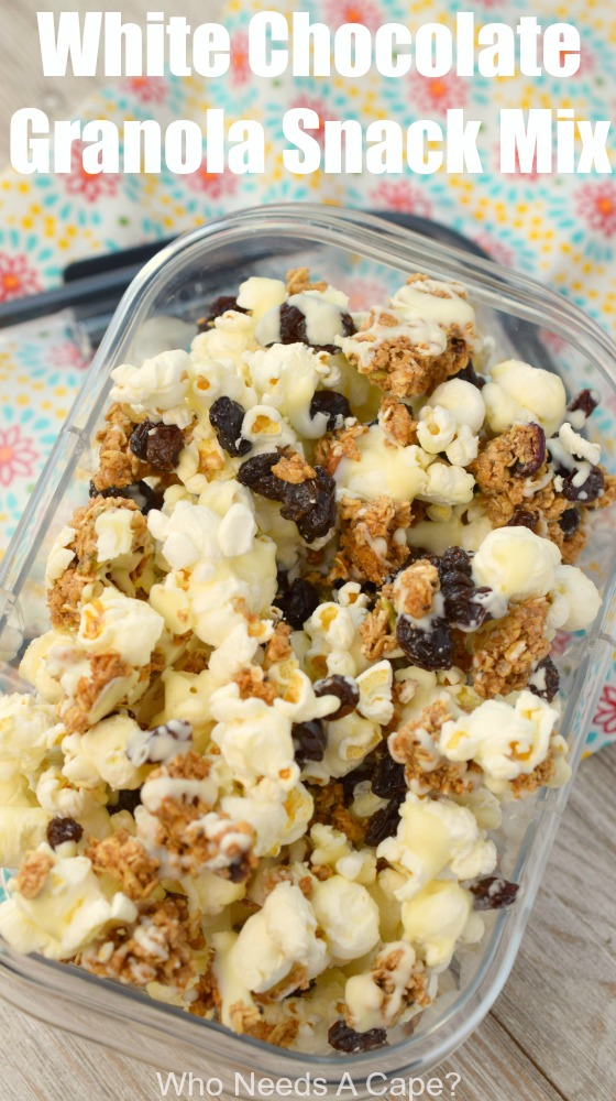 White Chocolate Granola Snack Mix is a great after-school snack that is so easy to make ahead. The perfect blend of salty and sweet, we love this treat.