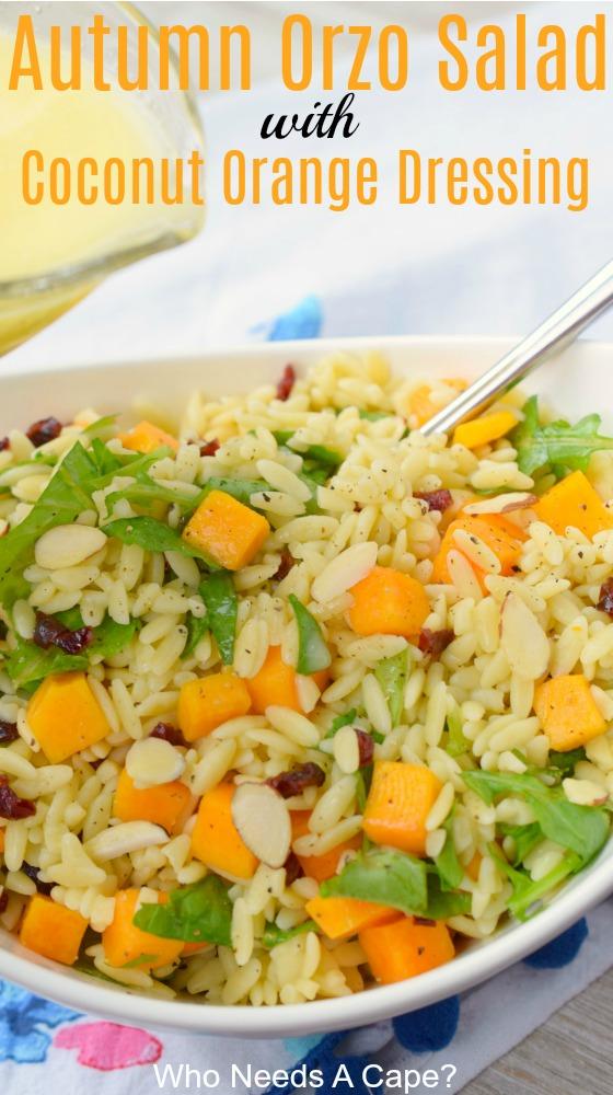 Autumn Orzo Salad with Coconut Orange Dressing