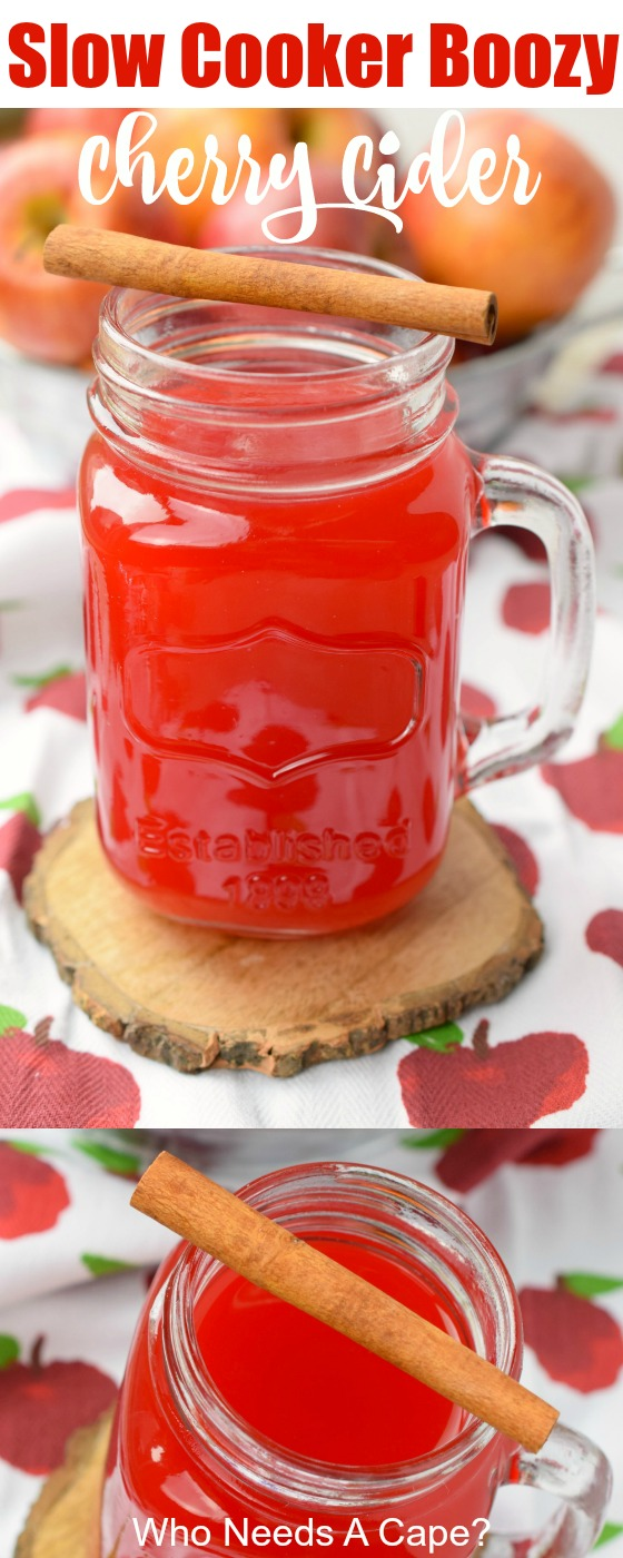 Slow Cooker Boozy Cherry Cider is the perfect addition to autumn parties. Easy to make in a crockpot, this is wonderful for the holiday season.