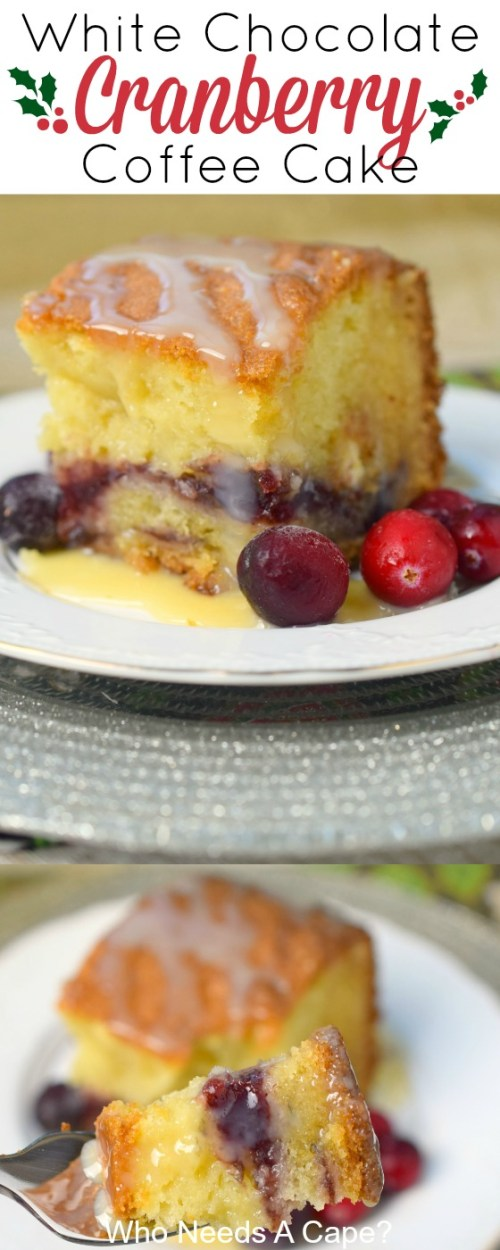 Add this delicious and simple to make White Chocolate Cranberry Coffee Cake to your holiday menu. Perfect for Christmas brunch, you'll love the flavors.