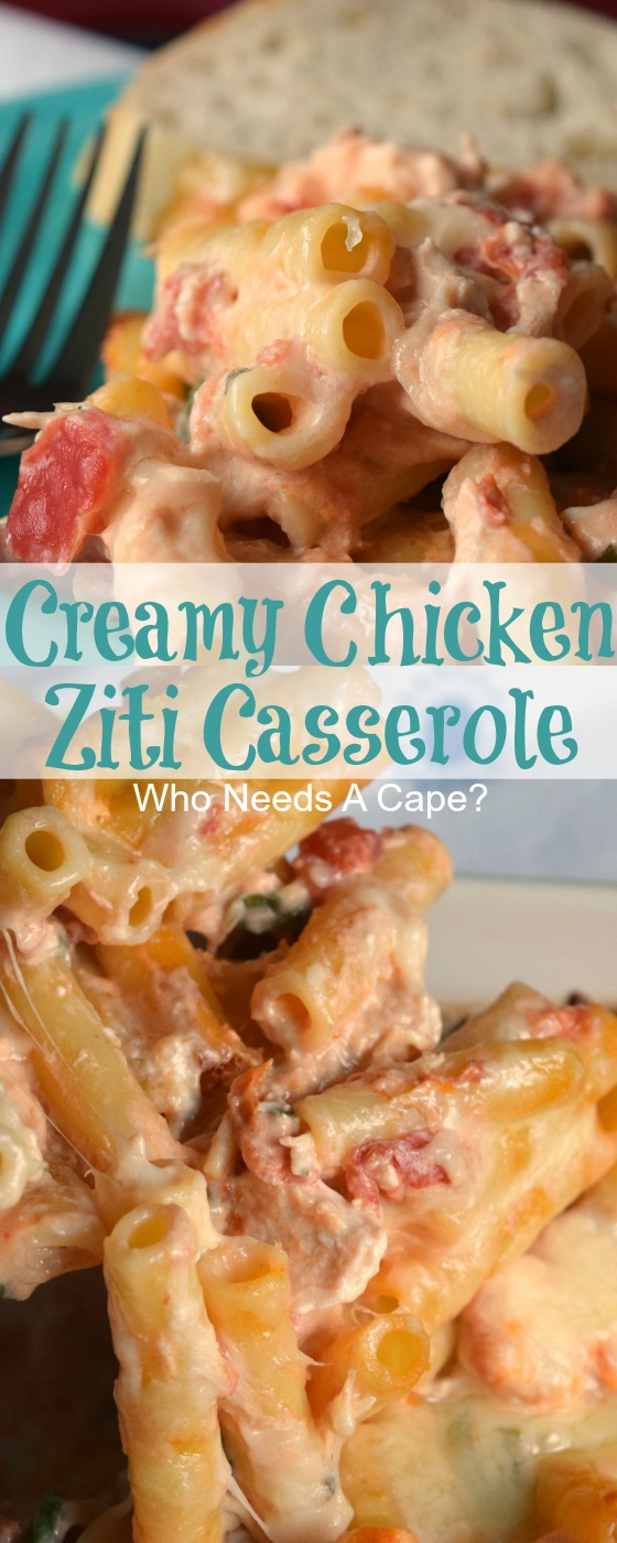 Bring Creamy Chicken Ziti Casserole to the dinner table, you'll get rave reviews. Loaded with diced tomatoes, spinach, and cheese, it is delish!