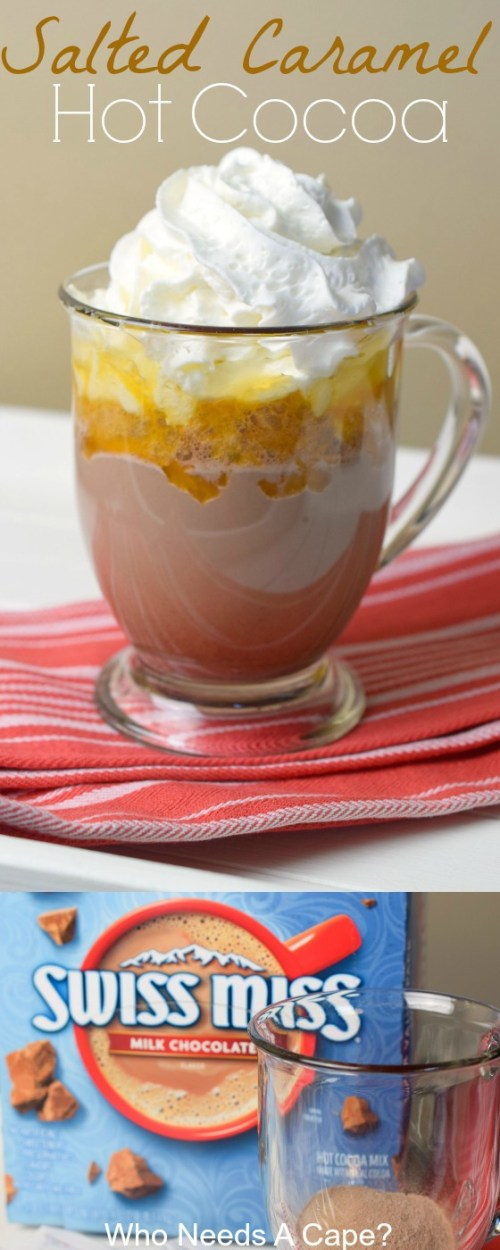 Want a warm beverage that's easy to make and delivers big flavors! Make an Easy Salted Caramel Hot Cocoa, it is cozy, delicious and oh so good!