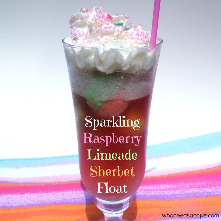 Sparkling Raspberry Limeade Sherbet Float