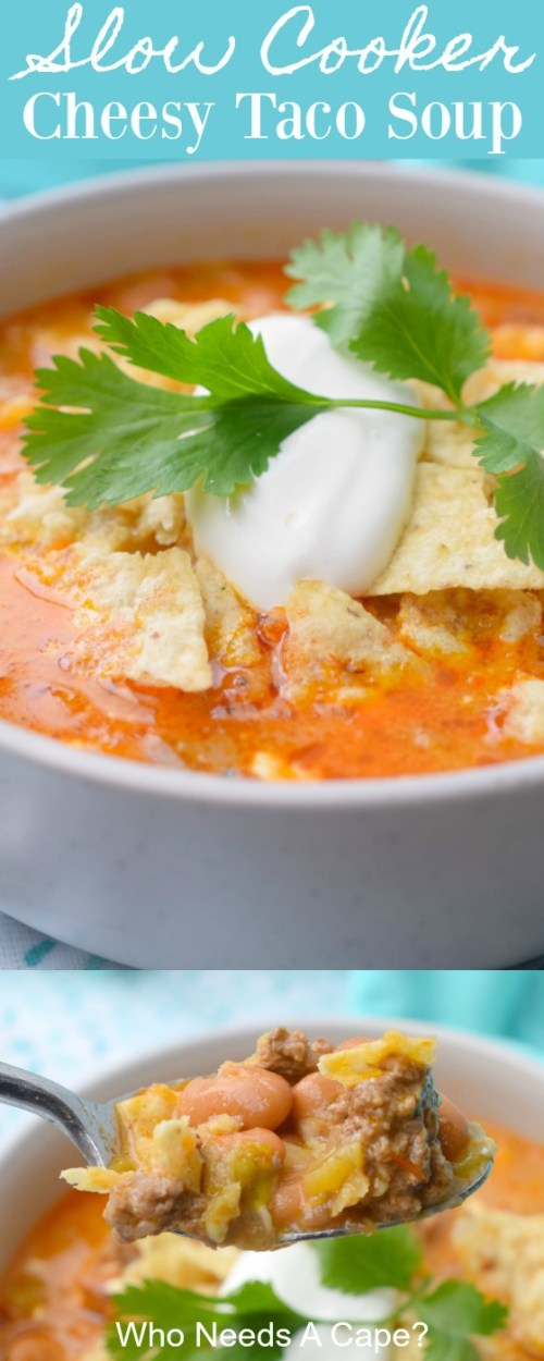 slow cooker cheesy taco soup topped with crushed tortilla chips, sour cream and cilantro in bowl on blue fabric