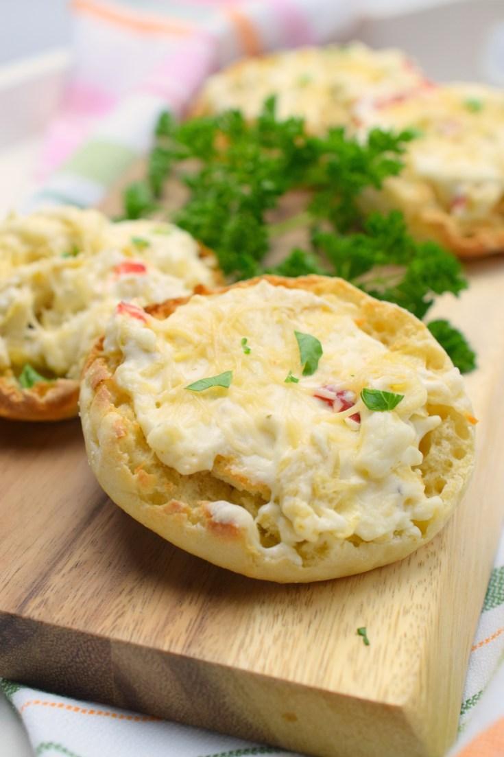 Cheesy Artichoke English Muffins