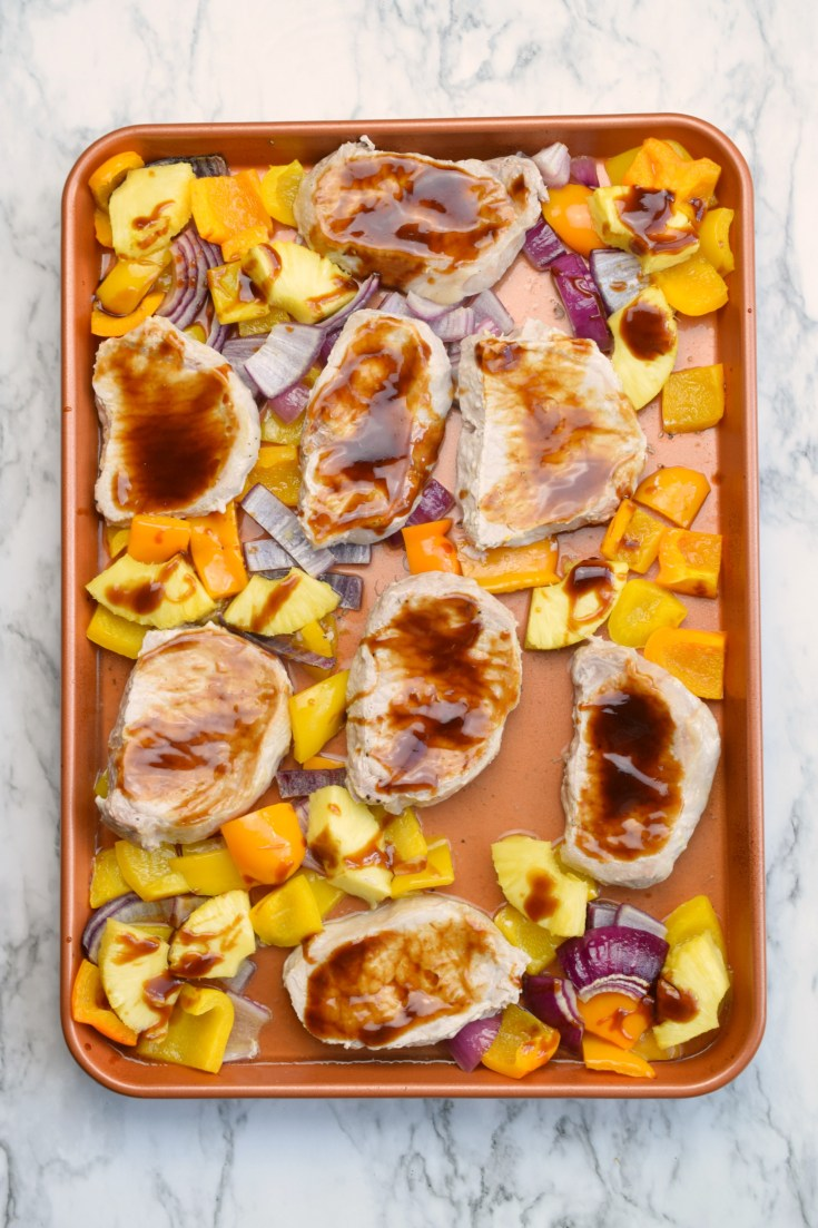 Polynesian Sheet Pan Pork Chops