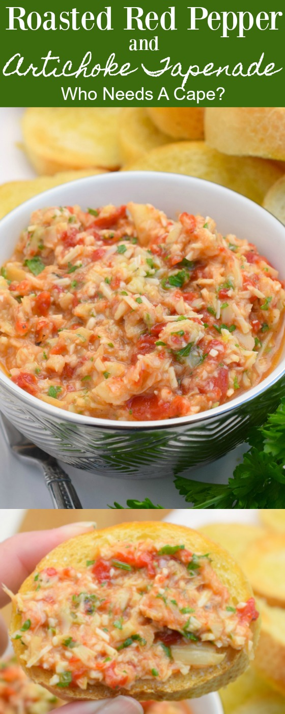 Roasted Red Pepper and Artichoke Tapenade is the perfect addition to holiday menus. Loaded with great flavors this dip is a wonderful appetizer.