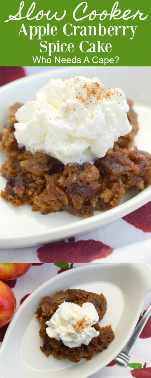 white bowl on top of apple fabric holding slow cooker apple cranberry spice cake with whipped cream