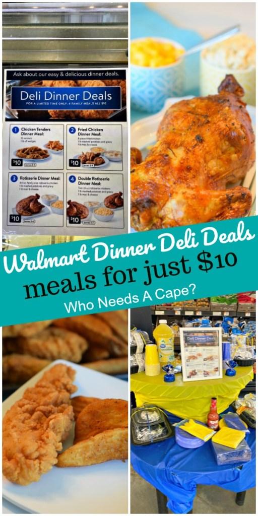 signage at Walmart store for dinner deli deals alongside food at home on platter