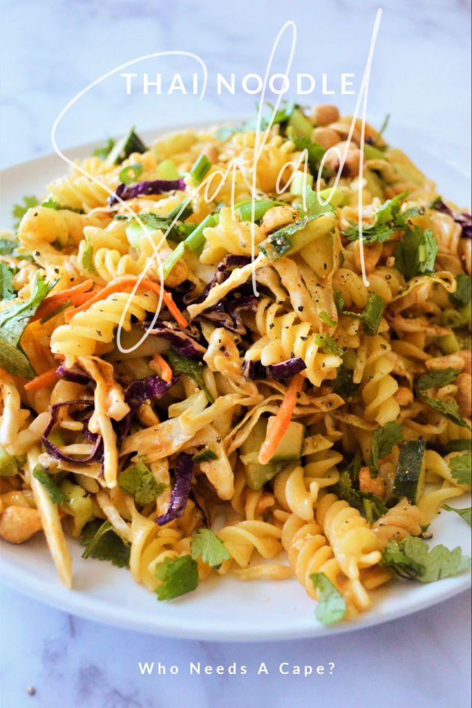 Plated white dish of thai noodle salad ready to serve