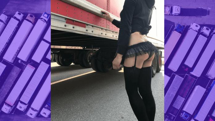 A sissy slut cruising for truck stop sex