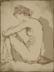 Gail: Day Two 9:45 pm. A 20 minute final pose done with my Non Dominate hand in Zen Brush at ArtsBenicia.