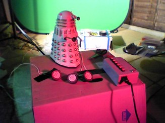 The Dalek model being set up for the Revelation of the Daleks DVD.