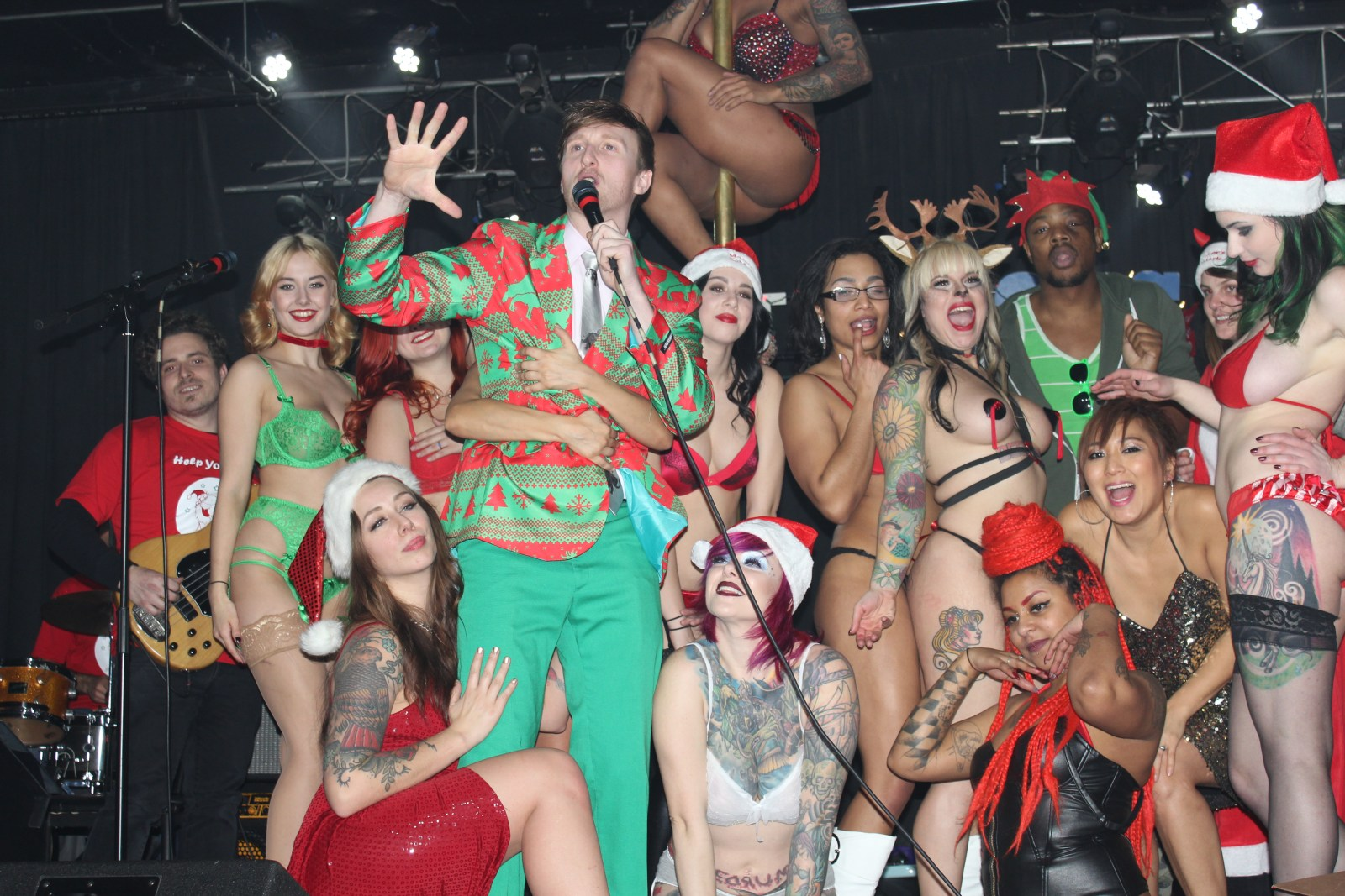 """Who's the Ross?"" ""Tatas for Toys"" 2015 comedy comedian strippers stripper benefit Xmas Christmas ""Aaron Ross"""