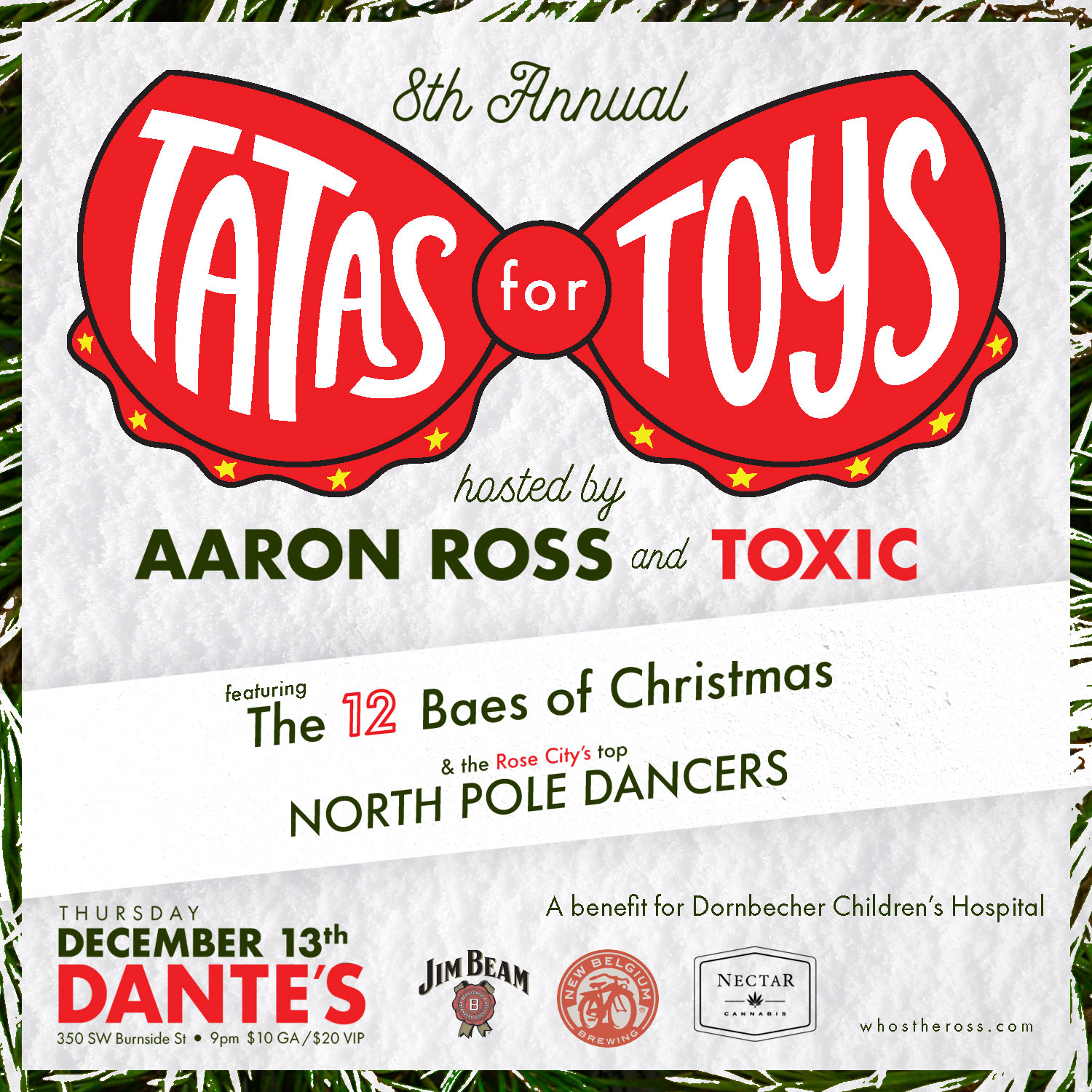 """""""Tatas for Toys"""" tatas for toys Aaron Ross """"Who's the Ross?"""" stripper strippers PDX Portland weird Xmas Christmas Holidays comedy comedian fundraiser Doernbecher Children's Hospital pole dancer Dante's live performance entertainment"""