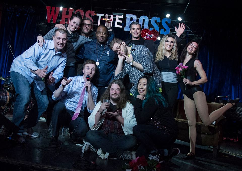 """""""Who's the Ross?"""" whos the ross afterglow aerial arts Aaron Patrick McGuire Jolene Dickerson Vursatyl hip-hop mc rap rapper comedian Portland PDX humor live late-night talk show Dante's funny improv sketch comedy"""