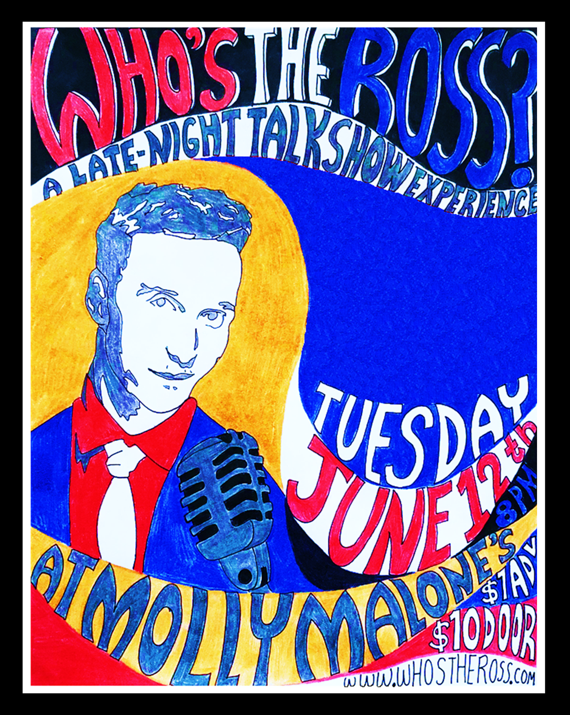 """""""Who's the Ross?"""" Aaron Ross LA Los Angeles comedy comedian show host Molly Malone's funny humor comedy comedian"""