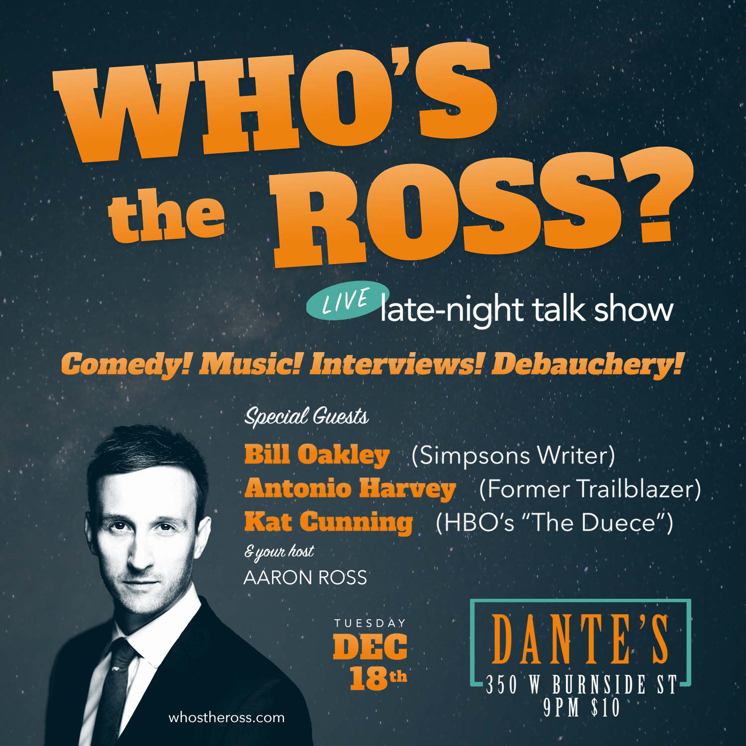 Who's the Ross? Aaron Ross Portland PDX Comedy Talk Show Funny Comedian Humor live entertainment