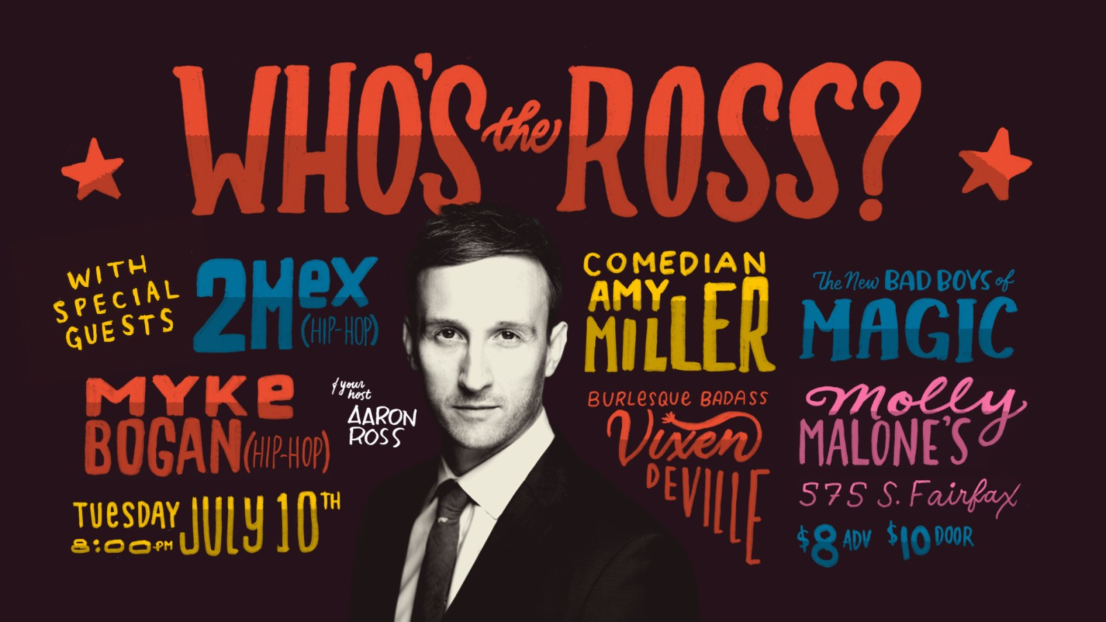 "LA Hollywood Los Angeles Molly Malone's Aaron Ross ""Who's the Ross?"" late-night talk show performance comedian comedy funny humor interview live stage host best"